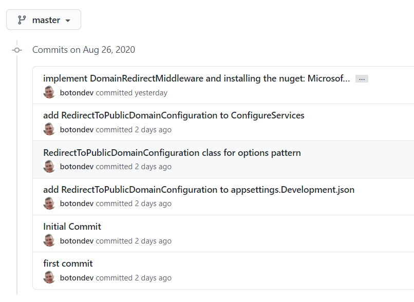 custom domain redirect github commits screenshot