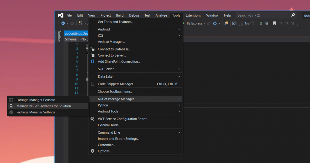 find nuget package manager in visual studio