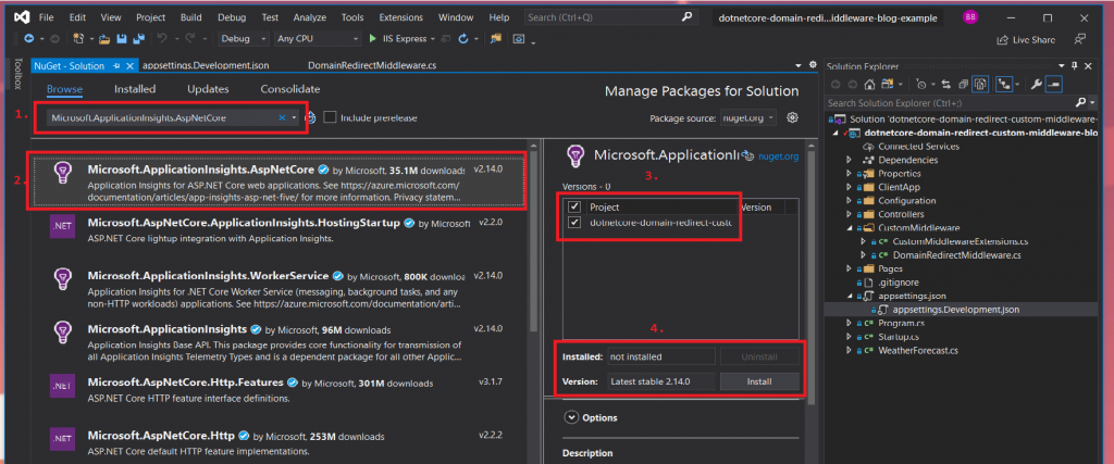 install Microsoft.ApplicationInsights.AspNetCore NuGet package